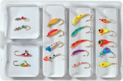 Fishing Whether you're a seasoned ice angler, or wanting to hit the frozen lakes for the first time this winter, you can bet you'll find just the right lure in one of these two kits. When panfish are biting, you're in for nonstop action, and you'll be well equipped for sunfish and crappies with the panfish collection. You get 18 of the hottest panfish lures and jigs on the market today at one money-saving price. If pike and walleye are your quarry, then go for the Jig-A-WhopperSpoon Kit. It contains 10 spoons that are proven to be effective fish catchers. This kit will help you put a bend in your rod and a smile on your face. Available: Panfish, Gamefish Gender: Male. Age Group: Adult. - $12.99