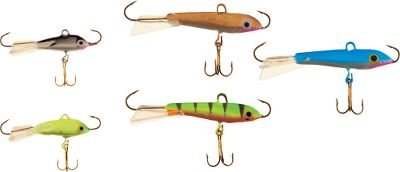 Fishing The unique design of this lure actually makes it swim in a wide, semicircular motion as its lowered, allowing you to cover a wide area while vertically jigging. The quick, darting motion created closely resembles fleeing baitfish, and the movement is proportional to the distance of the fall, allowing a wide range of presentation options. Five-piece assortment. Type: Ice Tackle. - $12.99