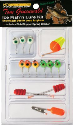 Fishing When its time to target crappies, perch and walleyes through the ice, this affordable 13-piece lure kit will give you the advantage. It includes nine Fisheye jigs, proven effective for getting finicky fish to bite. You also receive two spring bobbers, one adjustable bobber and one depth weight. - $6.99