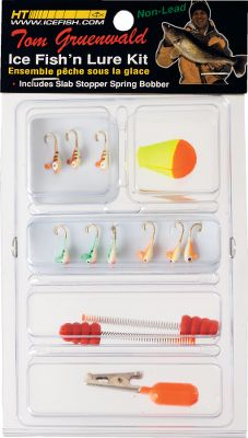 Fishing When it's time to target perch, panfish or trout through the ice, this affordable 13-piece lure kit will give you the advantage. It includes nine Ice-Mite jigs, proven effective for getting finicky fish to bite. You also receive two spring bobbers, one adjustable bobber and one depth weight. - $6.99