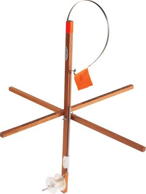 Fishing Ice fish with a traditional, wood-framed tip-up. The ultrasmooth trip mechanism and super-high, blaze-orange reflector flag calls out even the small bites. A ruler is built into the frame so you always know if you have a legal fish. Metal spool has a 200-ft. capacity and comes with 50 yds. of sand-colored braided line. Folds for easy transport. - $10.88