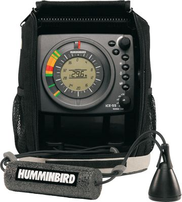 Fishing Humminbird's long-awaited entry into ice-fishing grabbed the attention of everyone who fishes on hard water with its new line of fiber-optic ICE flashers. The ICE 55 has the industry's first backlit LCD inside the flasher dial, providing real time sonar response with the convenience of digital depth and easy-to-read automatic depth scale. It has an exclusive, six-color fiber-optic display. Features include: 2,400 watts of peak-to-peak power; a 455 kHz/19 and 240 kHz/9; dual-beam transducer; 10-step interference rejection; control buttons for zoom, gain, noise, beam, target cursor and color palette; seven automatically adjustable depth scales at 20', 40', 60', 80', 100', 120' and 200'; a 9 amp-hour battery with charger; battery indicator on LCD; shuttle mount for your boat or sled; built-in gimbal bracket and a two-year warranty. A soft-sided carrying case is also included. - $499.99