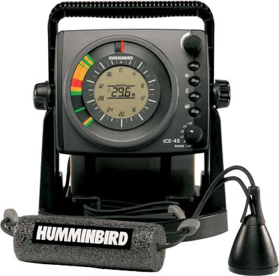 Fishing Humminbird's long-awaited entry into ice-fishing grabbed the attention of everyone who fishes on hard water with its new line of fiber-optic ICE flashers. The ICE 45 has the industry's first backlit LCD inside the flasher dial, providing real time sonar response with the convenience of digital depth and easy-to-read automatic depth scale. Features include; 1,800 watts of peak-to-peak power; a 455 kHz/19 and 240 kHz/9 dual-beam transducer; 10-step interference rejection; four control buttons including zoom, gain, noise and beam; seven automatically adjustable depth scales at 20', 40', 60', 80', 100', 120' and 200'; a 7 amp-hour battery with charger; built-in battery status indicator; shuttle mount for your boat or sled; built-in gimbal bracket and a two-year warranty. - $399.99
