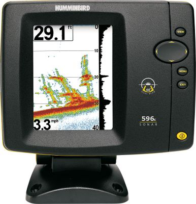 "Fishing Humminbird's dual beam sonar combines the advantages of narrow- and wide-beam transducers into one system. Its precision 20 at -10dB 200kHz down-looking center beam looks for fish and structures directly below the boat, while the broad 60 at -10dB 83kHz wide beam looks for fish outside the narrow beam around the boat. The Fish ID feature gives more information on location than a traditional single beam: Fish in the narrow beam are displayed as solid fish symbols; fish in the wide beam are shown as hollow fish symbols. This unit features an ultrahigh-contrast, high-definition, 640V x 480H, 4.5"" color TFT LCD display. Accelerated Real Time Sonar echo enhancement speeds detection and increases sensitivity. Water temperature is also displayed. One-Touch 2X, 4X, 6X or 8X split-screen zoom lets you customize your view. 2,400-watt peak-to-peak power.Available:596c with Temperature only (shown)596c with Temperature and Speed - $479.99"