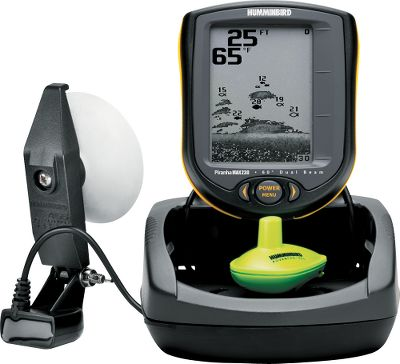 "Fishing One touch. That's all it takes to get easy access to all the advanced features of the PiranhaMax 230 Portable Fish Finder. It features a four-level grayscale 160V x 132H resolution 4"" diagonal display, a dual-beam sonar with 800 watts of peak-to-peak power output and SmartCast wireless remote sonar sensor all in a rugged hard-shell carry case. It also features a Fish ID+ with target depth, a 600-ft. depth capability, a dual beam sonar with 200 kHz/20 and 83 kHz/60 beams for excellent coverage and water temperature display. Operates on eight AA batteries for a wireless range up to 100 feet. The tilt-and-swivel mount is a drop-in replacement for many factory-installed in-dash-mounted fish finders. One-year manufacturer's warranty. - $199.99"