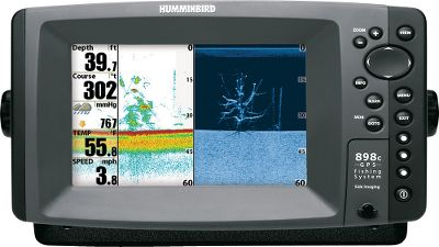 "Fishing With the advantage of Humminbird's Down Imaging , Side Imaging and SwitchFire sonar, you'll be the proud owner of one of the most versatile fish-finding systems on the water.Humminbird SwitchFire Sonar gives you the power to choose how returns are displayed, so you can adjust with the fishing conditions making our down-looking sonar an even more valuable fish-finding tool. Max Mode lets you see the tiniest subsurface object even thermoclines and water currents for complete underwater coverage. Clear Mode uses Time Variable Gain software to sift through sonar returns to display only fish and structure. It's great for fishing in shallow and rough water or reducing undesired clutter in the water column. With a spacious 7"" screen featuring a 16:9 aspect ratio, you get crystal-clear image quality. Also has Contour XD , GPS track and chart-plotting. Choose between the 858c, or the 898c SI with Down Imaging/Side Imaging Sonar that gives you a complete 180 view. Down Imaging provides picture-like views directly below the boat, while Side Imaging shows structure out to 240 feet on either side. Available: 858c, 898c SI. - $799.88"