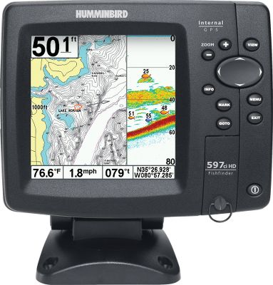 "Fishing Humminbird introduces a performance-driven fish-finding unit with powerful DualBeam transducers to mark fish in shallow and deep waters, as well as speed and water-temperature features. It is Navionics compatible and comes with a quick-disconnect mount. The front-side SDcard slot lets you keep your options open for mapping and chart-plotting software downloads. Optional in-dash mounting capability as well. Humminbirds 597ci combines an ultrahigh-resolution, 5"" FSTNLCD display and a DualBeam processor with a 50-channel internal GPS. Accurate temperature sensor. Made in USA. - $429.88"
