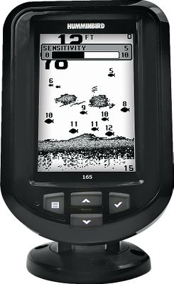 Fishing One touch is all it takes to get easy access to the advanced features of this fish finder Fish ID+, fish and depth alarms, zoom and more. Easy-to-use interface makes all these functions simple, clear and easy to see, even in sunlight. Use as a drop-in replacement for many factory-installed in-dash-mounted fish finders. Features a tilt-mount base and has a depth capability of 600 feet. 4, 240V x 160H 8-level grayscale screen. 800-watt peak-to-peak power. Single-Beam transducer 200kHz/28. Also includes a soft carrying case, suction cup transducer mount and a 7 amp hour 12 volt battery. Perfect for the mobile angler. - $119.88