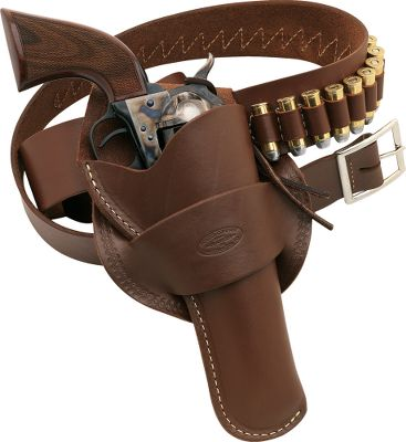 The full-grain leather pistol belt holds 25 cartridges. The belt is 2 wide to support even the heaviest gun without sagging. Antique brown in color for classic good looks. For .22 caliber. Holster not included. Made in USA. Sizes: M(34-39), L(40-45), XL(46-51). General Belt Sizing Information To determine the correct belt size to order, please measure around your hips over the clothing you plan to wear, and keep in mind the angle at which the holster will be worn. Because gun belts are usually worn lower than regular belts, we suggest adding six inches to the size of belt you would normally wear when ordering. Size: XL. Color: Antique Brown. Gender: Male. Age Group: Kids. Type: Cartridge Belt. - $64.99