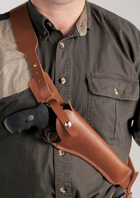 Made of sturdy, top-grain, vegetable-tanned cowhide that protects your gun's finish. Designed for large revolvers and completed with a bandoleer. Evenly distributes the revolver's weight across the chest. Adjustable retention strap. Built-in rear sight guard and belt tie-down. Made in USA. - $64.88
