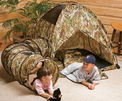 Camp and Hike Bring the spirit of the untamed outdoors to your backyard or inside your home with Hunter Dan Deer-Hide play gear. Young outdoor adventurers will enjoy their experiences even more in their own tent and sleeping bag. And when sleep finally does come to your happy little camper, he or she will dream of the great outdoors in the Deer-Hide 100% polyester sleeping bag. What childs tent would be complete without a secret escape tunnel? This padded play tunnel offers endless possibilities for fun and can be enjoyed alone or inserted into the Hunter Dans tent tunnel port. Two nylon mesh windows for concealed scouting. There are even deer hiding in the camo pattern. See how many your child can find. Big fun waits for your child in these Kid-Size indoor/outdoor-use products from Hunter Dan. For ages 3 and up. Includes: Tent - 48L x 48W x 42H Sleeping Bag - 57L x 30W Tunnel - 72 x 19D. Color: Camo. Type: Play Tents. - $124.99