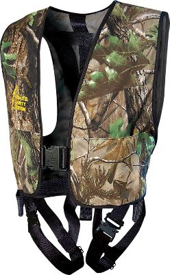 Hunting The Treestalker is affordable, takes only seconds to put on and take off, and is so comfortable youll hardly know youre wearing it. Its heavy-duty strap harness is contained in a silent, durable vest and features a single front buckle and patented seat-belt-style leg buckles. The accordion-folded tether breaks away in sections to dampen your stop if you fall. Quick-cinch strap provides extra-strong, no-slip attachment to the tree. The saddle-style leg straps can be easily adjusted to fit over light and heavy clothing. The rubber-coated buckles are quieter, lighter and stronger than previous models. Two extra-large pockets. FREE HSS Linemans Climbing Strap included, saving you $25 over buying one separately. Harness tested to TMA standards. For use with ladder and climbing treestands only, or fixed-position (hang-on) treestands when used with the Hunter Safety System Linemans Climbing Strap. Cabelas strongly recommends the use of a Hunter Safety System Linemans Climbing Strap with any Hunter Safety System vest harness. Imported. Wt capacity: 250 lbs. Sizes: S/M(100-175 lbs.), L/XL(175-250 lbs.), 2XL/2XL(250-300 lbs.). Camo pattern: Realtree APG. A Video Public Service Announcement from the TREESTAND MANUFACTURERS ASSOCIATION Size: XL. Color: Camo. Pattern: Camo. Type: Vest Harnesses. - $99.99