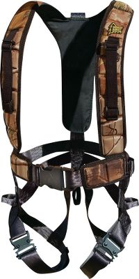 Hunting Enjoy the safety and peace of mind youve come to expect from Hunter Safety System in a user-friendly harness that weighs just 2 lbs. Highly packable and portable with padded shoulder straps for added comfort. Extreme ventilation makes it ideal for warm-weather hunts. Leg-strap buckles are coated with rubber for silent adjustment. Single front buckle. Linemans Climbing Strap included, saving you $25. Vest also includes rangefinder and binocular straps. Tested to TMA Standards. Imported.Wt: 2.0 lbs.Wt. capacity: 300 lbs.Sizes:S/M (100 - 175 lbs.)L/XL (175 - 250 lbs.)2XL/3XL (250 - 300 lbs.)A Video Public Service Announcement from theTREESTAND MANUFACTURERS ASSOCIATION S/M. - $119.99