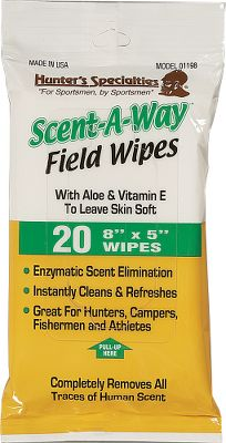 "Hunting Small odor-removing wipes ideal for field use where toilet paper is in short supply. The 8"" x 5"" wipes come in a convenient peel-and-seal soft pack. Per 20. - $5.88"