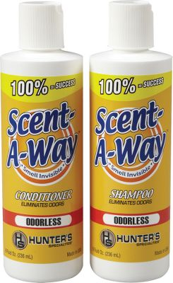 Hunting Cleans and conditions your hair while eliminating game-spooking scent. 8-oz. bottle of shampoo, 4-oz. bottle of conditioner. - $8.88