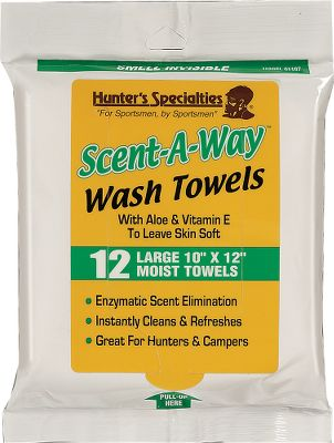 Hunting These 10 x 12 moist towelettes eliminate human scent on contact. They're ideal for hunters unable to shower before going afield. Per 12. - $8.88
