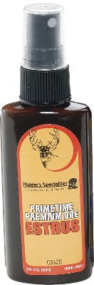 Hunting Collected during the estrous cycle, this Hunter's Specialties Primetime Premium Doe Estrus Urine Spray formula is made from 100% natural doe-in-heat urine, plus secretions taken during the 24-36 hour breeding period. 2 oz. - $3.88