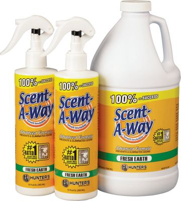 Hunting Advanced formula, 64-oz. Scent-A-Way is a powerful, fast-acting, scent-neutralizing agent that destroys the cause of odors on contact. Leaves a fresh earth cover scent. Combo includes two free 12-oz. spray bottles. Type: Scent Control. - $17.88