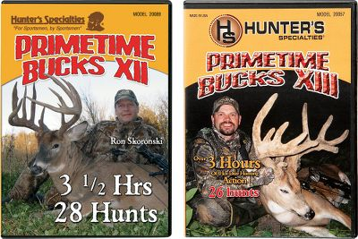Hunting Available:Prime Time Bucks 12 and 13 Combo:Combine seasons 12 and 13 for even more deer-stopping, edge-of-your-seat footage. You'll get more than 400 minutes of scraping, rutting, horn-banging and buck-fever action. Over 50 hunts and 400 minutes.Prime Time Bucks 12 and 13 Combo:Combine seasons 13 and 14 for more adrenaline-pumping hunting action. Get over 400 minutes of footage when you buy the combo DVD set. - $16.99