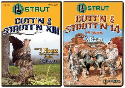 Hunting Struttin' toms on foggy mornings and sun-drenched fields; these DVDs have the sounds and realism hunters love. Join the H.S. staff as they chase gobblers across America. H.S. Cutt'n Strutt'n 13 has over 180 minutes of heart-thumping turkey hunts. H.S. Cutt'n Strutt'n 14 has 210 minutes of amazing turkey hunts. Together, the combo has over 400 minutes of footage. - $17.99