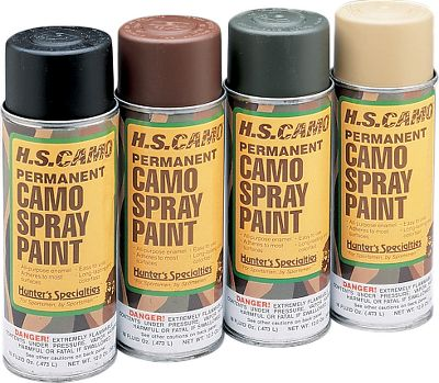 Hunting Paint your treestand, boat, motor, blinds - almost anything that needs camouflaging. Convenient spray paint applies evenly and easily. Comes with fern-leaf stencils that make it easy to paint realistic patterns. Includes four 12-oz. cans, one each of Marsh Grass (Tan), Mud Brown, Flat Black and Olive Drab. Color: Camo. Gender: Male. Age Group: Adult. - $29.99