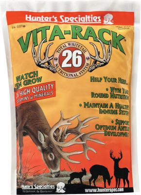 Hunting Containing 26 high quality vitamins and minerals, this innovative mixture helps deer to maintain a healthy immune system and reach their genetic potential. Combines all-natural, loose minerals and fine-grade vitamins to formulate a complete, granular mixture that absorbs quickly into the system for immediate use. Contains calcium and phosphorus for bone and antler development and specific B and C vitamins for optimal nutrition. Vita-Rack 26 Lick Site is exactly what deer want and need. Available: 5-pound bag. Type: Feed Supplements. 5 Lbs. - $9.88