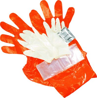 Hunting Keep clean while dressing your kill and protect yourself from the bacteria and viruses found in wild game using this collection of heavy-duty gloves and bag. Includes two shoulder length plastic gloves with elastic shoulder cuffs, two latex hand gloves, a heart and liver bag, and an alcohol swab for cleanup. - $2.88