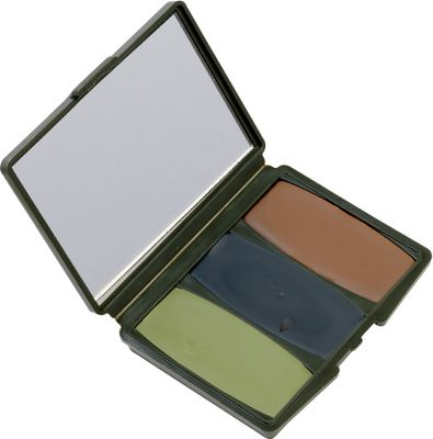 Hunting Apply these natural colors to your face and you'll blend in without wearing an itchy facemask. Includes compact case with mirror and three woodland colors: mud brown, leaf green and flat black. Color: Black. Type: Camo Makeup. - $4.99