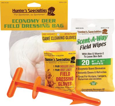 Hunting Quickly and efficiently field dress game using this kit. Kit includes one pair of field dressing gloves, Butt Out 2, game bag and Scent-A-Way field wipes. The field dressing gloves fit over hands and up to the shoulders to protect from blood and bodily fluids. The updated Butt Out 2 game dressing tool is 2 longer than the original, making it easier to maintain a firm grip on the handle. It eliminates having to cut around the area with a knife for easier field dressing. Kit also includes a cloth economy-sized game bag and 20 8 x 5 Scent-A-Way field wipes for easy clean-up. - $17.88