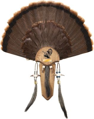 Hunting Display that trophy tom. Kit includes brass nameplate, two antique brass cup hooks, wall mounting plate and leather lace. Kit will display a tail, spurs and up to three long beards. Instructions and mounting hardware included. Ornamental beads not included. Size: S. Material: Leather. Type: Turkey Taxidermy. - $29.99