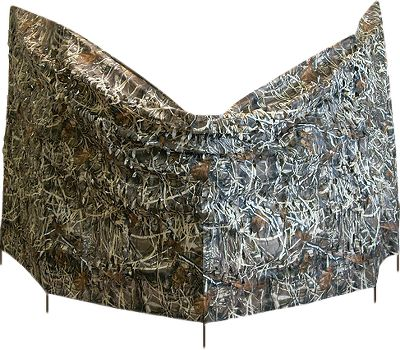 "Hunting A complete blind that is super lightweight and compact for easy transport. It has five, three-stage adjustable poles with thumb locks for quick and easy set up. Includes carry bag with shoulder strap. Weight: 8-1/2 lbs. Collapsed height: 20"". Set up height: 54"" x 12 ft.. Camo pattern: Realtree MAX-4 . - $46.88"