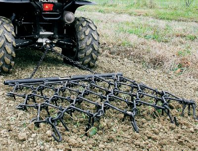 Motorsports Pull this chain harrow behind your ATV and use for smoothing yards or fields, and dragging driveways or riding tracks. Dozens of metal teeth grab the soil or grade surface. Harrow is 4 ft. x 4 ft. in size and can be assembled in a variety of configurations for different ground penetrations. Size: 4'L x 4'W. Weight: 95 lbs. Gender: Male. Age Group: Adult. - $199.99