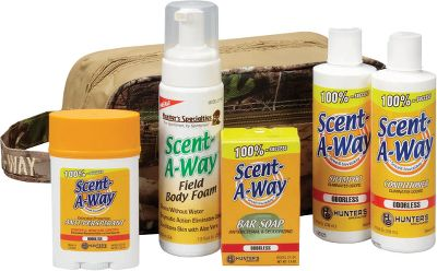 Hunting Reduce game-spooking odors before you head into the field. All-in-one Shower Kit Includes Scent-A-Way Bar Soap, Shampoo, Conditioner, Antiperspirant, Body Foam and Realtree Hardwoods HD toiletry bag. Type: Hair and Body Soap. - $19.99