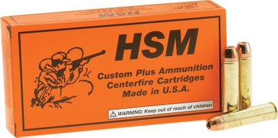 Hunting Produced by HSM, 300-gr. bullets leave the barrel at nearly 2,000 fps. This potent handgun round has a flat trajectory that makes it a 200-yard hunter capable of stopping America's largest game animals in their tracks. Per 20. Made in USA. - $36.99