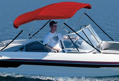 Motorsports Standard 6-ft. Long Models For Most Mid-sized Boats On-the-water protection from sun and rain. Top folds down and out of the way in seconds. These are the same tops supplied as original equipment on many name-brand boats. Three-bow frame is made of 7/8 anodized aluminum with double-wall, reinforced main bow. Nylon fittings. Deck mounts included. Top Storage Boot included. Made in USA. Beam widths: 54-60, 61-66, 67-72, 73-78, 79-84, 85-90, 91-96. Material/Colors Available: Mildew-resistant, 9.25-oz. Sunbrella Acrylic Available In: Burgundy, Forest Green, Aquamarine, Blue, Captains Navy, Gray, White, Red. 6.5 oz. Sharkskin Polyester Fabric Available In: Silver (shown), White, Blue. Color: Forest Green. Type: 3-Bow. - $229.99