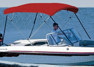Motorsports 8-ft. Long Models For Large Boats That Require Added Protection For boats that require extra protection, Cabelas offers 4-Bow Bimini Tops. Designed for boats with large cockpit areas, center consoles and boats with flying bridges. Manufactured with the finest quality materials: 7/8 anodized aluminum frame with double-wall reinforced main bow. High-density nylon fittings and deck-mount hardware. Top Storage Boot included. Made in USA. Beam widths: 54-60, 61-66, 67-72, 73-78, 79-84, 85-90, 91-96. Material/Colors Available: Mildew-resistant, 9.25-oz. Sunbrella Acrylic Available In: Burgundy, Forest Green, Aquamarine, Blue, Captains Navy, Gray, White, Red. 6.5 oz. Sharkskin Polyester Fabric Available In: Silver (shown), White, Blue. Color: Forest Green. Type: 4-Bow. - $299.99