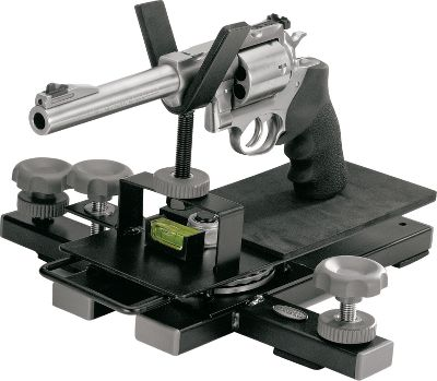 The highly versatile gun rest features two modes of operation, and it adjusts to accommodate pistols, rifles and shotguns. With the lock-up knob in place, its a solid portable gun-support platform. With the platform less than 3 off the deck, it allows shooting at full arm extension. Remove the lock-up knob and it smoothly pivots over 150 on an industrial ball bearing set for varmint shooting or plinking. Built-in magnetic level and locking elevation jacks on both sides let you perfectly balance the rest on uneven surfaces. Carry handle for easy transport. Type: Shooting Sticks. - $44.88