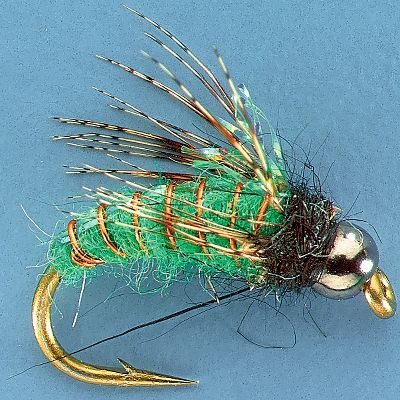Flyfishing Trout take caddis pupae as they tumble among the rocks and during their rise to the surface to become adults. Since trout feed heavily upon these rising pupae, the Morrish Super Pupae is ideal for these situations. The bead head resembles the air bubble attached to an actual caddis. This fly also portrays the folded back legs and cased wings of the naturals extremely well. Per 3.Sizes: 10, 12, 14, 16.Color: Green. - $4.88