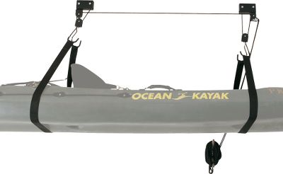 Kayak and Canoe Easily store your canoe or kayak up and out of the way with this even-pulling, two-rope hoist system. One-person operation. Safety release mechanism. Can be used to store bicycles, ladders and many other bulky, cumbersome items. Mount directly to ceiling studs or surface mount to finished ceilings. Includes mounting hardware. 120-lb. maximum lift. Imported. Type: Canoe/Kayak Hoist. - $29.99
