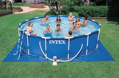 "Camp and Hike Reinforced, straight-up sides give these roomy pools maximum surface space. Available in 12-ft. dia. x 30H, 18-ft. dia. x 48H and 24-ft. dia. x 52H sizes. Assembly takes about an half an hour before they are ready for water. Instructional DVD included with all models.Available: 18 ft. Dia. x 48H1,500 gal/hr pumpHolds 6,423 gallons at 90% capacityIncludes ladder, ground liner, and pool cover24 ft. Dia. x 52H2,500 gal/hr pumpHolds 12,481 gallons at 90% capacityIncludes ladder, ground liner, and pool cover Type: Pools. Type: Pools. 18'x48"" Metal Frame. - $299.88"