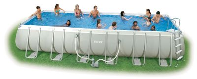 Camp and Hike Reinforced, straight-up sides give these roomy pools maximum surface space. Available in 18-ft. x 9-ft. x 52H, 24-ft. x 12-ft. x 52H and 32-ft. x 16-ft. x 52H sizes. Assembly takes about an hour before they are ready for water. Model-specific, 1,500-4,000 gallons-per-hour, 110-120-volt pumps keep water fresh. All models include surface skimmer, maintenance kit, pool cover, ground cloth and entrance ladder. Volleyball set and instructional DVD included with all models.Dimensions: 18 ft. x 9 ft. x 52H. 24 ft. x 12 ft. x 52H. 32 ft. x 16 ft. x 52H. - $1,399.99