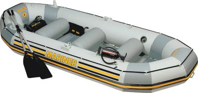 Motorsports Built of two layers of Super-Tough PVC vinyl laminated to an inner layer of polyester mesh, the Intex Mariner Inflatable Boat is one of the strongest and most durable inflatables ever. The keel rock guard adds extra dependability and the heavy duty, extruded plastic flooring and inflatable keel deliver superior stability and rigidity. The interior features a gear pouch, battery pouch, motor-mount fittings, two rod holders, two welded-on and rotational oarlocks, two grab handles on each bow and an all-around grab line. Two Boston valves make inflating/deflating quick and easy. Includes a set of 54 aluminum oars, a high-output pump and a repair patch kit. Available: Three-Person Boat 117L x 50W x 18D. Wt. capacity: 790 lbs. Two inflatable seat cushions. Four-Person Boat 130L x 56W x 18-1/2D. Wt. capacity: 880 lbs. Three inflatable seat cushions. Type: Inflatable Boats. - $259.99