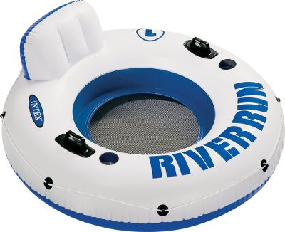 Entertainment Float down the river or pool in comfort. Both tubes are constructed of durable 18-gauge vinyl. They feature built-in backrests, cup holders and mesh bottoms to keep you cool. The Double model sports a large built-in cooler and seats two. Imported. Available: Single 53 diameter. - $24.99