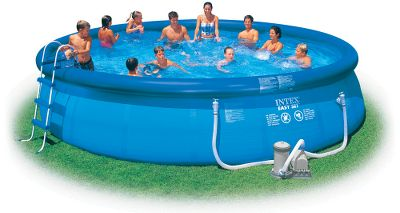 "Camp and Hike Enjoy backyard swimming in just minutes. On the average, it takes two people about 10 minutes to set up. Just inflate the top ring, fill the pool with water and watch the pool fill to full capacity. No sand or anchor is required. Heavy-gauge Super-Tough sidewall is PVC-laminated to polyester mesh for extra reinforcement. Fill on level ground. Easy Set Complete Pool Kit Includes pool, ladder, pool cover, ground cloth, filter pump and video.Available:Complete pool kit:15 ft. x 4818 ft. x 48 Type: Pool Kits. 15'x48"" W/Pump. - $224.88"