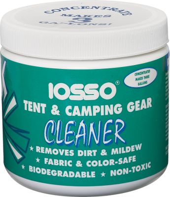 Camp and Hike Its nonchlorine, color- and fabric-safe formula removes mold, mildew, grease, dirt, sap and tannin stains. One 12-oz. jar makes up to three gallons. No harmful vapors. Biodegradable. 12-oz. jar. Type: Tent Accessories. Tent Style Tent Cleaner. - $10.49