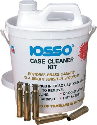 The Iosso Case Cleaner Kit will restore your brass casings to a bright finish in seconds. Kit contains one quart of Case Cleaner, which effectively removes powder fouling residue, oxidation, tarnish, discoloration, dirt and grime. It also cleans inside primer pockets and inside the casings where tumbling media isn't effective. To use, simply immerse the casings in the solution for 20 seconds to five minutes, rinse and dry. Also comes with a dip bag, a pail and lid. - $14.99