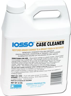 Iosso Case Cleaner effectively removes powder fouling residue, oxidation, tarnish, discoloration, dirt and grime. It also cleans inside primer pockets and inside the casings where tumbling media isn't effective. To use, simply immerse the casings in the solution for 20 seconds to five minutes, rinse and dry. One quart. Treats approximately 1,500 casings. - $9.99