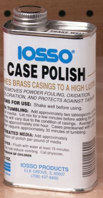 Iosso Polish cleans and polishes brass casings to a high luster. It also removes powder fouling residue, oxidation, tarnish and discoloration. Add Iosso Case Polish to your media before tumbling to reduce tumbling time. Also protects from re-tarnishing. 8-oz can. Type: Tumbler Media/Polish. - $9.99
