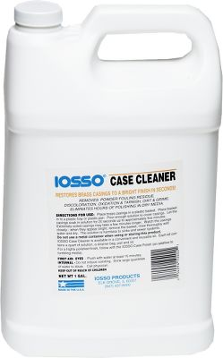 Iosso Case Cleaner effectively removes powder fouling residue, oxidation, tarnish, discoloration, dirt and grime. It also cleans inside primer pockets and inside the casings where tumbling media isn't effective. To use, simply immerse the casings in the solution for 20 seconds to five minutes, rinse and dry. One gallon. Cleans several thousand cases. - $24.99
