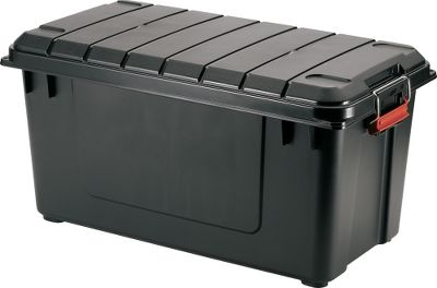 Camp and Hike Perfect for camping, hunting and garage storage, this sturdy polypropylene trunk features an airtight seal to block out moisture. The 21.8-gal. storage trunk has a lockable lid and steel buckle for added security. Made in USA.Dimensions: 15.4H x 30W x 16L. Type: Trunks. Size 87.4qt Air-Tight. - $39.99